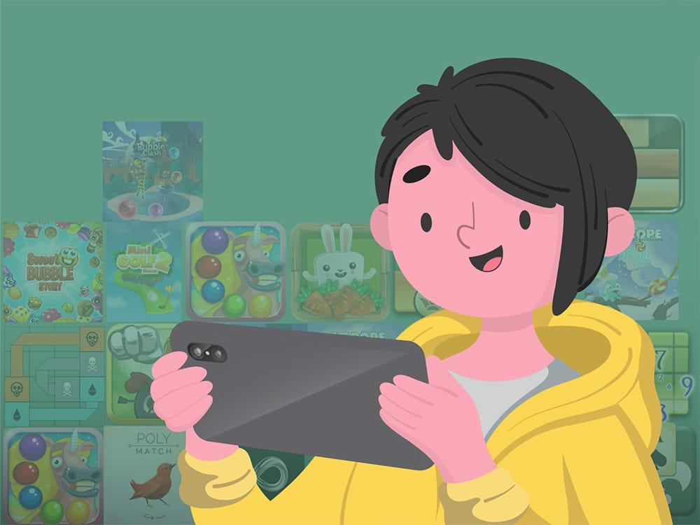 Boy playing on mobile cloud gaming platform ONMO